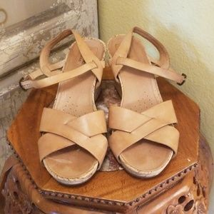 Clark's artisan tan leather wedges